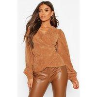 Womens Cord Wrap Puff Sleeve Top - beige - 6, Beige