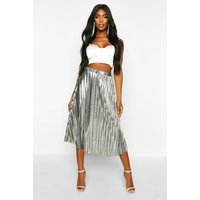 Womens Metallic Pleated Midi Skirt - grey - 6, Grey