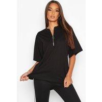 Womens Zip Detail Oversized T-Shirt - black - 8, Black