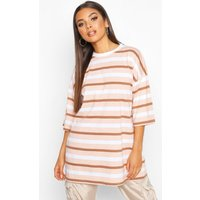Womens Oversized Striped Embroidered T-Shirt - Beige - 8, Beige