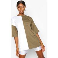 Womens Contrast Colourblock T-Shirt - green - 14, Green