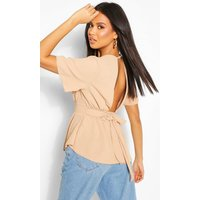 Womens Wrap Front Tie Back Blouse - Beige - 10, Beige