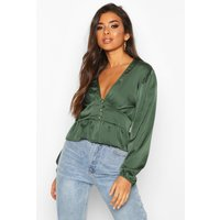 Womens Satin Button Through Peplum Hem Blouse - Green - 12, Green