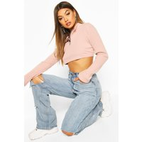 Womens Brushed Soft Ribbed Zip Up Crop Sweat - pink - 6, Pink
