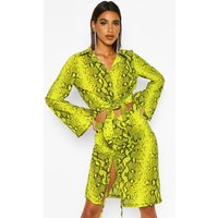 Womens Woven Snake Print Embellished Collar Tie Shirt - green - 14, Green