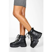 Womens Wide Fit Snake Chunky Hiker Boots - black - 3, Black