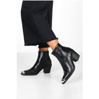 Womens Metal Toe Block Heel Western Boots - black - 4, Black