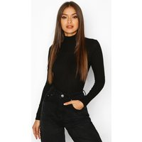 Womens Long Sleeved roll/polo neck Rib Top - black - 10, Black