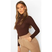 Womens Long Sleeved roll/polo neck Rib Top - brown - 14, Brown