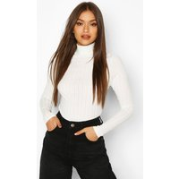 Womens Long Sleeved roll/polo neck Rib Top - white - 12, White
