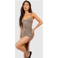 Womens Leopard Print Jersey Slip Midi Dress - brown - 16, Brown
