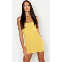 Womens Basic Square Neck Bodycon Mini Dress - yellow - 12, Yellow