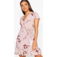 Womens Geo Print Wrap Ruffle Mini Tea Dress - Pink - 8, Pink