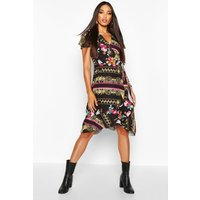 Womens Woven Floral Chain Midi Tea Dress - red - 8, Red