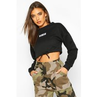 Womens Premium Cropped Ruched Hem Embroidered Sweatshirt - black - S, Black