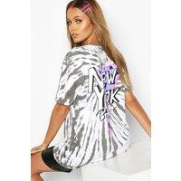 Womens Tie Dye Back Print New York T-Shirt - grey - L, Grey