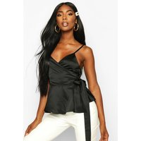 Womens Satin Wrap Tie Side Cami - black - 8, Black