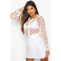 Womens Spot Organza Shirt - White - 12, White