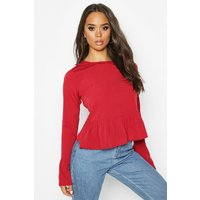 Womens Button Back Long Sleeve Frill Top - red - 6, Red