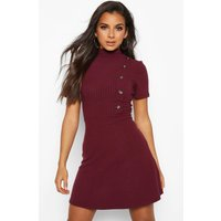 Womens High Neck Rib Button Skater Dress - red - 12, Red