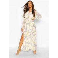 Womens Woven Chain Print Tie Belt Midi Dress - beige - 10, Beige