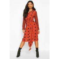 Womens Mix Print Knot Midi Dress - orange - 14, Orange