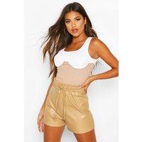 Womens Elasticated Waist Leather Look Shorts - beige - 14, Beige