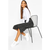 Womens Belted Woven Polka Dot Culottes - black - 10, Black