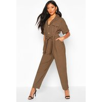 Womens Button Front Cargo Jumpsuit - green - M, Green