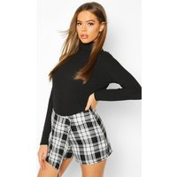 Womens Mono Check Woven Skort - black - 16, Black