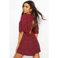 Womens Polka Dot Open Back Playsuit - red - 12, Red