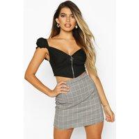 Womens Mixed Check A Line Mini Skirt - black - 10, Black