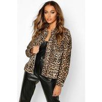 Womens Leopard Print Denim Shirt - brown - 14, Brown