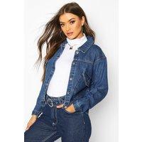 Womens Pocket Front Denim Jacket - blue - 16, Blue