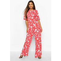 Womens Flared Sleeve Open Back Floral Jumpsuit - 12, Red