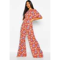 Womens Floral Flared Sleeve Culotte Jumpsuit - 10, Red