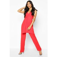 Image of Womens Knot Front Wide Leg Cami Jumpsuit - red - 10, Red