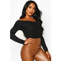 Womens Asymmetric Off Shoulder Bandage Rib Top - black - 6, Black