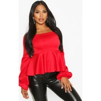 Womens Off Shoulder Balloon Sleeve Peplum Top - red - 12, Red