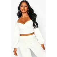 Womens Crepe Wrap Long Sleeve Crop Top - white - 10, White
