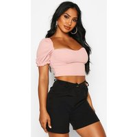 Womens Crepe Ruffle Detail Crop Top - pink - 14, Pink