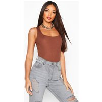 Womens Rib Knit Square Neck Sleeveless Bodysuit - brown - 14, Brown