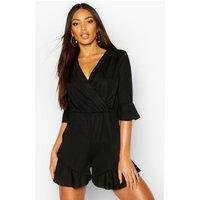 Womens Plain Ruffle Hem Wrap Jersey Playsuit - black - 16, Black