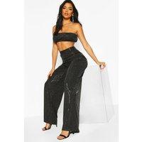 Womens Sparkle Highwaist Wide Leg Trousers - black - 8, Black