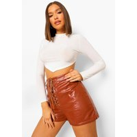 Womens Lace Up Front Leather Look Shorts - brown - 12, Brown