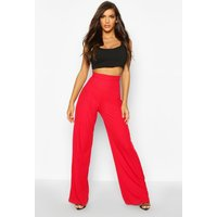 Womens High Waisted Rib Wide Leg Trouser - red - 16, Red