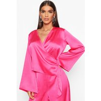 Womens Satin Wrap Flared Sleeve Blouse - Pink - 10, Pink