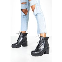 Womens Lace Up Chunky Platform Hiker Boots - black - 4, Black