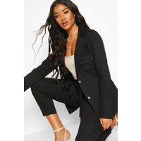 Womens Pocket Detail Tailored Belted Blazer - black - 16, Black