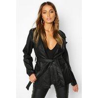 Womens Wrap Belted Faux Leather Jacket - black - 8, Black